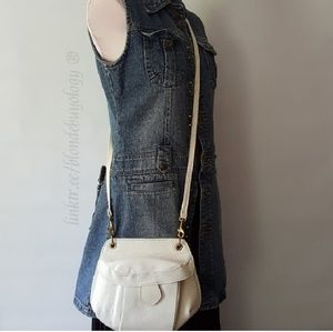 Vintage Off white leather cross body bag